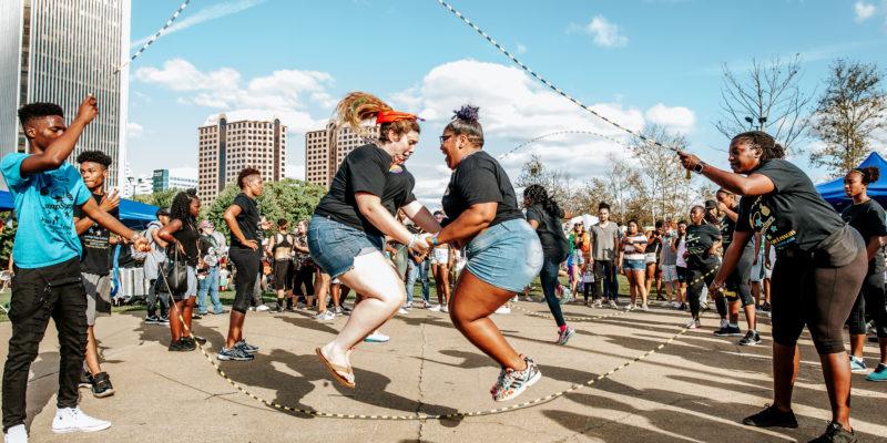 Jumping rope at VA PrideFest in Richmond, VA